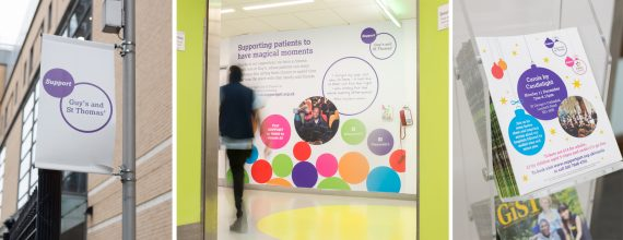 Three examples of the Guy's hospital charity brand in use