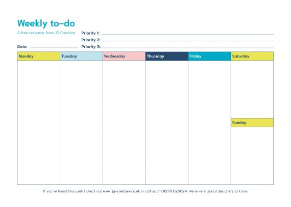 A visual of the Weekly to-do sheet
